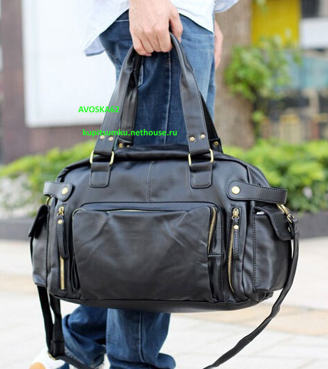 Недорогие кожаные мужские дорожные сумки синие чемоданы